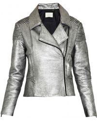 Zoe Jordan Patrese Cracked Leather Jacket - Lyst