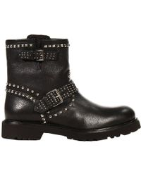 John Richmond - Boots Biker Leather With Studs - Lyst