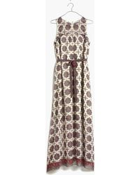 Madewell Shirred Maxi Dress In Medallion Stamp - Lyst