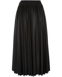 Lanvin Pleated Faux Leather Skirt - Lyst