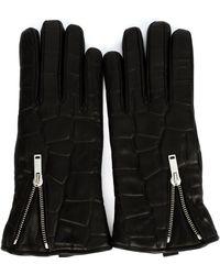Alexander McQueen - Crocodile Effect Gloves - Lyst