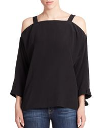 Tibi Heavy Silk Cold-Shoulder Blouse black - Lyst