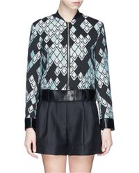3.1 Phillip Lim Leather Belt Diamond Jacquard Jacket - Lyst