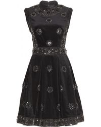 Erdem Justine Embellished Velvet Dress - Lyst