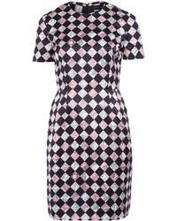Jonathan Saunders Pink Checkerboard Short Sleeve Dress - Lyst