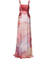 Matthew Williamson | red Ruby Patina Galaxy Ruched Gown | Lyst
