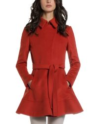 Patrizia Pepe Wool Fabric Coat in Feminine Cut with Closed Collar - Lyst