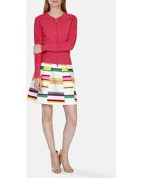 Karen Millen Bomber Knit Cardigan pink - Lyst