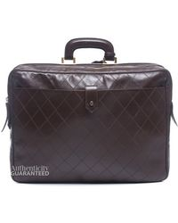 Chanel Preowned Brown Quilted Leather Vintage Large Travel Briefcase - Lyst