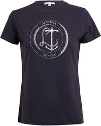 Olympia Le-Tan Anchor Illustrated Cotton Tshirt - Lyst