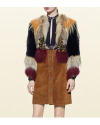 Gucci Patchwork Fur, Leather And Ayers Jacket With Embroidery - Lyst