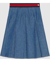 Gucci | Box Pleat Denim Skirt | Lyst