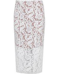 Galvan London - White Guipure Lace Pencil Skirt - Lyst