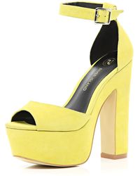 River Island Yellow Peep Toe Platform Sandals - Lyst