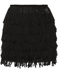Balmain Fringed Satin Mini Skirt - Lyst