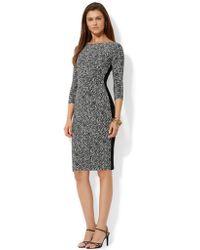 Lauren by Ralph Lauren Petite Three Quarter Sleeved Jersey Dress - Lyst