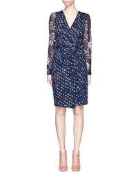 Diane von Furstenberg | 'sigourney Two' Daisy Print Silk Combo Wrap Dress | Lyst