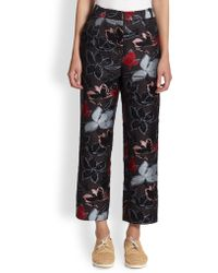Suno Floraldot-patterned Jacquard Wide-leg Ankle Pants - Lyst