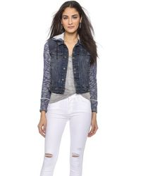Free People Denim Knit Jacket - Indigo Rinse - Lyst