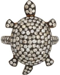 Munnu Pave Diamond Turtle Ring - Lyst