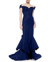 Zac Posen Off-The-Shoulder Bow-Detailed Gown blue - Lyst