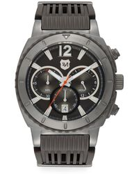 Andrew Marc - Grey Ip & Rubber Strap Chronograph Watch - Lyst