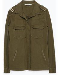 Zara Khaki Military Jacket - Lyst