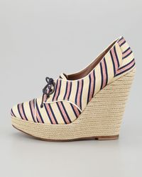 Tabitha Simmons Tie Striped Oxford Wedge - Lyst