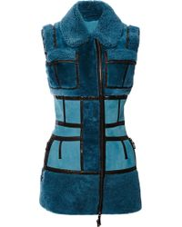 J. Mendel Shearling Vest with Leather Strapping - Lyst