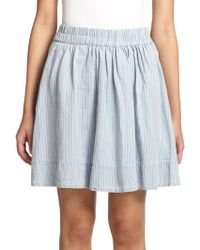 Marc By Marc Jacobs Indigo Striped Cotton & Linen Skirt - Lyst