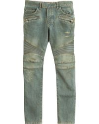 Balmain Skinny Jeans With Moto Detailing - Lyst