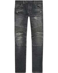 Balmain Straight Leg Biker Jeans - Lyst