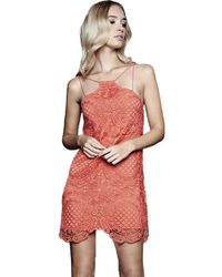 Stylestalker Hong Kong Shift Dress In Coral pink - Lyst