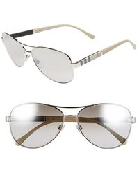 Burberry 59Mm Aviator Sunglasses silver - Lyst