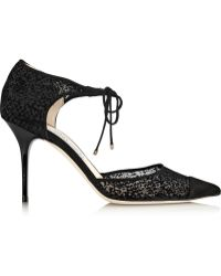 Jimmy Choo Valor Flocked Mesh and Suede Pumps - Lyst
