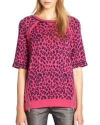 Marc Jacobs Sasha Graphic Leopardprint Sweatshirtpop Pink - Lyst