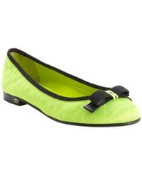 Dior Neon Green Quilted Canvas Ballet Flats - Lyst