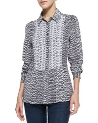 Equipment Trent Snake-print Blouse with Contrast Bib - Lyst