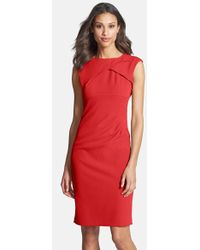 Adrianna Papell Women'S Pleated Crepe Dress - Lyst