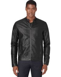 Calvin Klein Partquilted Fauxleather Motorcycle Jacket - Lyst