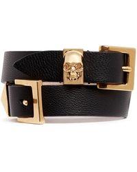 Alexander McQueen Three Buckle Double Wrap Skull Leather Bracelet - Lyst