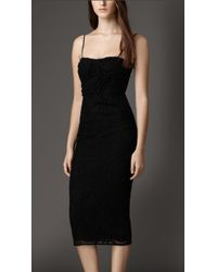 Burberry Fitted English Lace Dress - Lyst