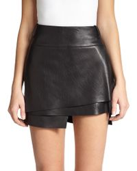 Helmut Lang Petal Leather Tiered Mini Skirt - Lyst