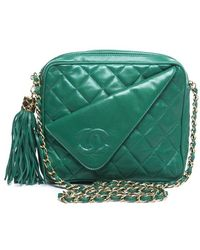 Chanel Pre-owned Green Lambskin Quilted Cc Tassel Vintage Camera Bag - Lyst