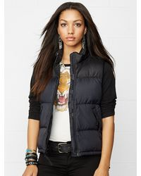 Denim & Supply Ralph Lauren Black Down Vest - Lyst