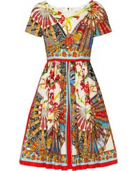 Dolce & Gabbana Printed Cotton Dress - Lyst