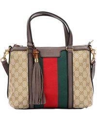 Gucci Ebony And Cocoa Gg Canvas Web Stripe Tote Bag - Lyst
