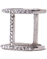AKIRA - Cage Knuckle Ring in Silver Crystal - Lyst