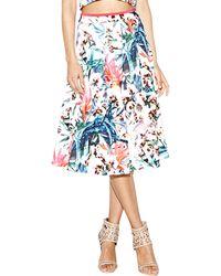 Nicole Miller Artelier - Orchid Jungle Neoprene Printed Flare Skirt - Lyst
