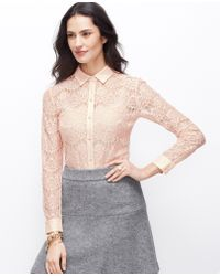 Ann Taylor Winter Lace Top - Lyst